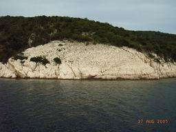Croatia island Cres - rocky coast, calm deep blue sea